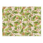 Flores florecientes, pétalos, hojas - naranja postal