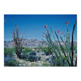 """Flores florecientes rojas del Ocotillo Invitación 5"""" X 7"""""""