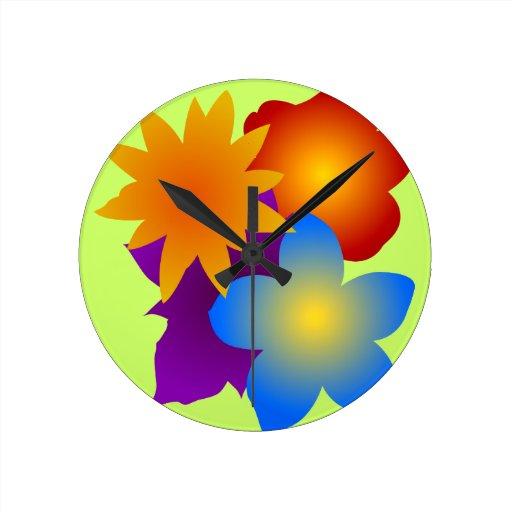 Flores flores blooms flowers relojes de pared