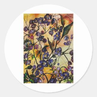 Flores flotantes pegatina redonda