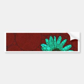 Flores fluorescentes de la turquesa de Borgoña Pegatina Para Auto