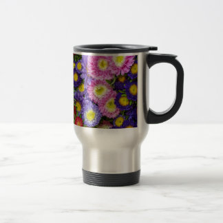 Flores frescas taza de viaje