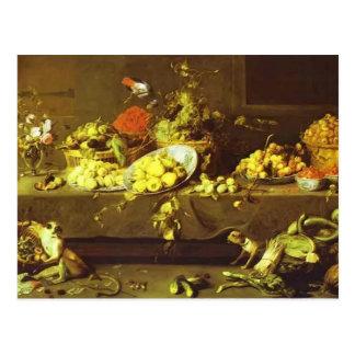 Flores, frutas y verduras de Francisco Snyders Tarjeta Postal