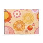 Flores geométricas circulares anaranjadas y rosada iPad mini protectores