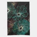Flores gigantes del art déco del vintage en aguama toallas