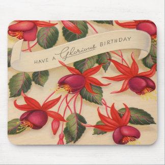 Flores gloriosas del feliz cumpleaños del vintage tapete de raton