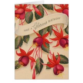Flores gloriosas del feliz cumpleaños del vintage tarjeton