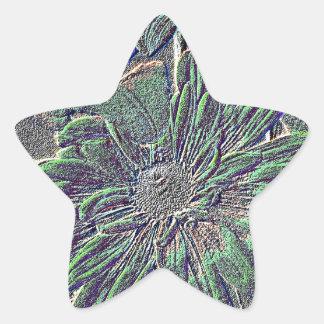 Flores grabadas en relieve con color colcomanias forma de estrellaes personalizadas