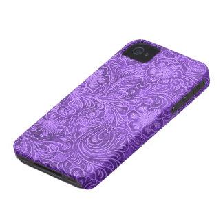 Flores grabadas en relieve mirada de cuero púrpura Case-Mate iPhone 4 cobertura