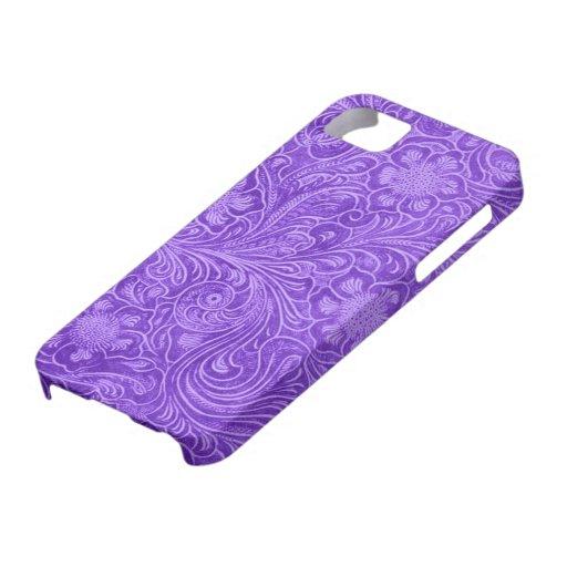 Flores grabadas en relieve mirada púrpura del ante funda para iPhone 5 barely there
