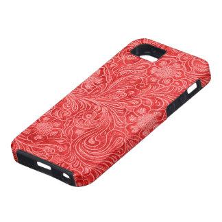 Flores grabadas en relieve mirada roja del ante iPhone 5 carcasas