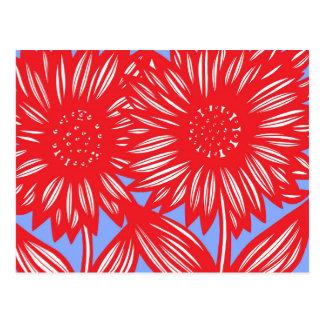 Flores grandes azules blancas rojas postal