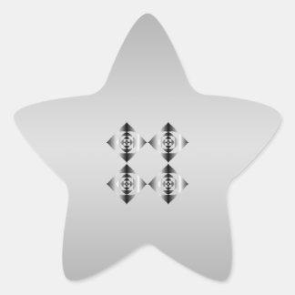 Flores grises, blancos y negros elegantes pegatina en forma de estrella