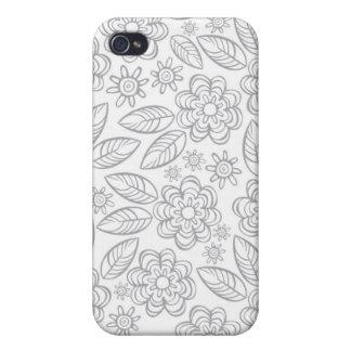 flores grises delicadas en blanco iPhone 4/4S fundas