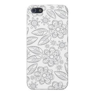 flores grises delicadas en blanco iPhone 5 funda
