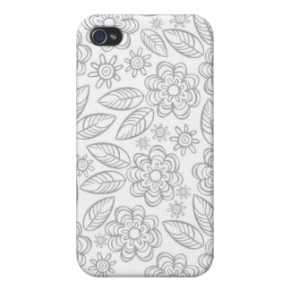 flores grises delicadas en blanco iPhone 4 cárcasa
