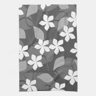 Flores grises y blancas Modelo floral Toalla De Mano