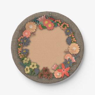 Flores guirnalda, arpillera, placa de papel del platos de papel