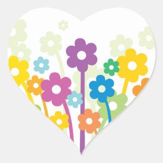Flores Happy2 Pegatina En Forma De Corazón