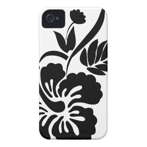 Flores hawaianas blancos y negros Case-Mate iPhone 4 carcasa