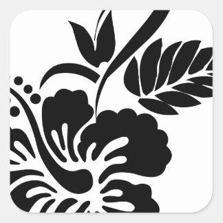 Flores hawaianas blancos y negros pegatina cuadrada