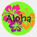 Flores hawaianas intrépidas y brillantes pegatinas redondas