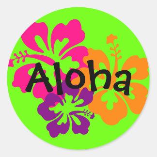 Flores hawaianas intrépidas y brillantes pegatina redonda