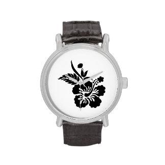 Flores hawaianas negras relojes