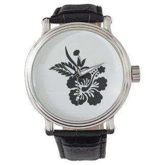 Flores hawaianas negras relojes de pulsera