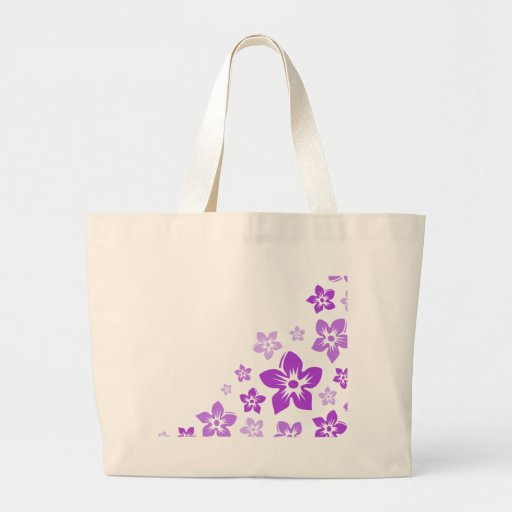 flores hawaianas púrpuras bolsa tela grande