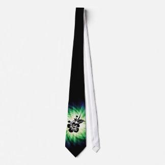 Flores hawaianas que brillan intensamente corbata