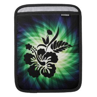 Flores hawaianas que brillan intensamente mangas de iPad