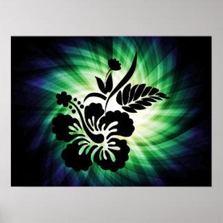 Flores hawaianas que brillan intensamente poster