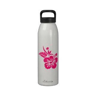 Flores hawaianas rosadas brillantes botallas de agua