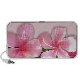 Flores hawaianas rosadas brillantes del hibisco mp3 altavoces