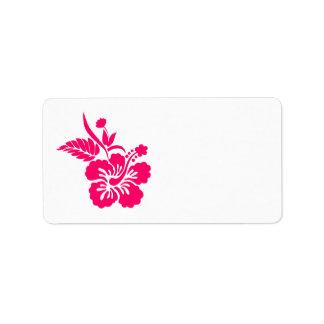 Flores hawaianas rosadas brillantes etiqueta de dirección