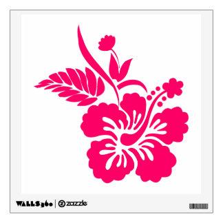 Flores hawaianas rosadas brillantes vinilo adhesivo