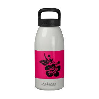 Flores hawaianas rosadas y negras brillantes botellas de agua reutilizables