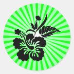 Flores hawaianas; verde etiqueta