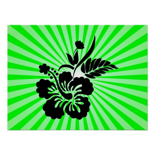Flores hawaianas; verde poster