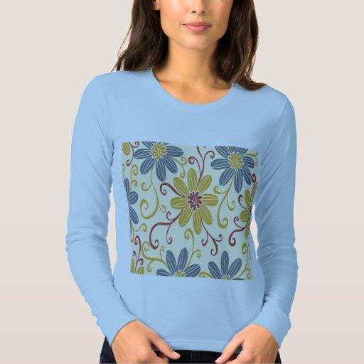 Flores hermosas, azules y de oro remeras
