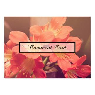 flores hermosas de la tarjeta del comentario tarjetas de visita grandes