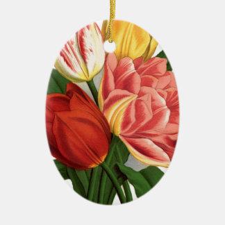flores hermosas de las vides del vintage de los adorno navideño ovalado de cerámica