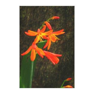 Flores hermosas del amarillo anaranjado impresión en lienzo