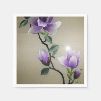 Flores hermosas del bordado servilletas desechables