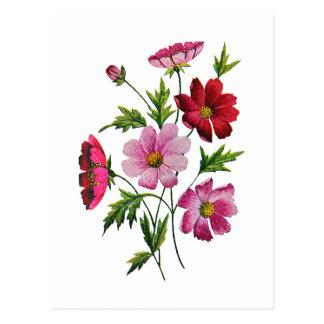 Flores hermosas del cosmos en bordado de la lana p postales