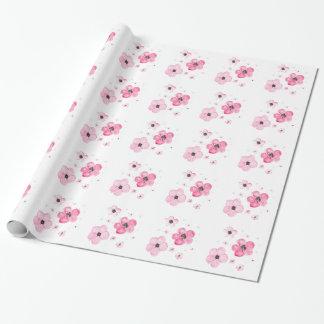 Flores hermosas del rosa de la acuarela papel de regalo