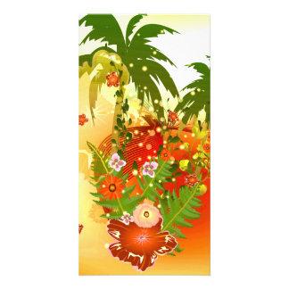 Flores hermosas en diseño tropical tarjetas fotograficas personalizadas