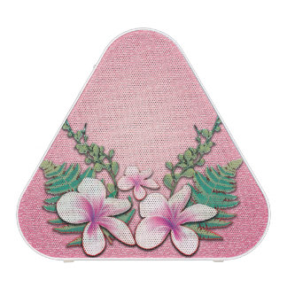 Flores hermosas en fondo rosado suave altavoz