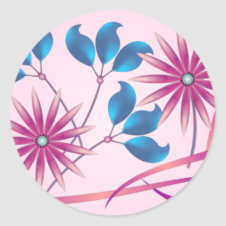 Flores hermosas etiquetas redondas